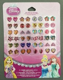 Wholesale Princesses Sticker - sell 10 sheets 24 pairs of stick on Earrings Princess or Princess Pet stickers party gifts