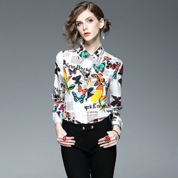 Wholesale Print Work Blouse - Brand New Designer Women Silk Blouses and Shirts High Quality 2017 Spring Long Sleeve Butterfly Print Blouse Office Work Tops