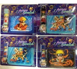 Wholesale Naruto Wallets - New Japanese anime Naruto Faux Leather Quartz Watches and Wallet Sets Children Gifts biao50