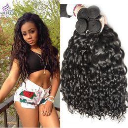 Wholesale Hot Water Hair Extensions - Hot sales Brazilian Virgin Hair Water Wave Human Hair Weave 4 Bundles Natural Black 1b Brazilian Human Hair Extensions