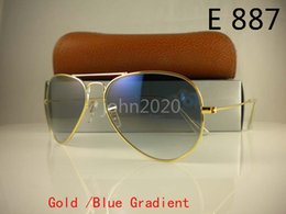 Wholesale sunglasses mirror 62mm - Mens Womens Pilot Sunglasses Designer Sun Glasses Gradient Alloy Metal Gold Blue Glass Lens 58mm 62mm Original Case Box
