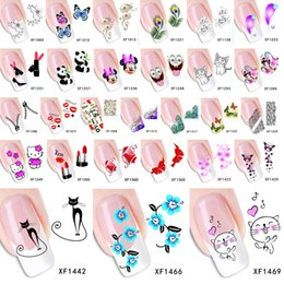 Wholesale Wholesale Water Temporary Tattoo - Wholesale-1 Sheet 2015 Top Sell Flower Bows Etc Water Transfer Sticker Nail Art Decals Nails Wraps Temporary Tattoos Watermark Nail Tools
