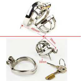 Wholesale Chastity Strap - Male Chastity Smaller Stainless Steel Chastity Belt Cock Lock Chastity Cage Device Top Quality Metal Strap On Sex Products For Men