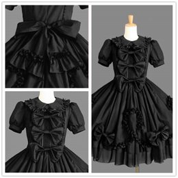 Wholesale Retro Shirt Dress - Gorgeous Retro Lovely Lace Lotus Leaf Pleated Bow Cosplay Short Sleeve Prom Dress College Wind Ball Gown 2018 Real Photo