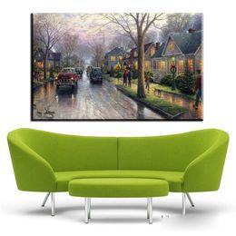 Wholesale Spray Paint Mm - ZZ400 Thomas Kinkade art paintings rainy street scene canvas pictures oil art painting for livingroom bedroom decoration prints
