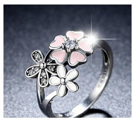 Wholesale Cherry Rings - Cherry Blossom Pink Enamel Heart Floral CZ Finger Ring In Sterling Silver Size 6-10