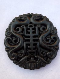 Wholesale Chinese Jade Necklaces - Chinese Xinjiang old black jade hand-carved pendant bring luck fashion jewelry black and green jade S068