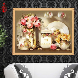 Wholesale Cross Stitching Flowers - YGS-259 DIY 5D Full Diamond Embroidery Beautiful Flowers Round Diamond Painting Cross Stitch Kit Diamond Mosaic Home Decoration