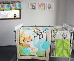 Wholesale Baby Mattress Set - American Baby Bedding Set 6 PCS boy crib bed Set Animal Zoo Inc comforter bumper coverlet dust ruffle diaper stacker window curtain