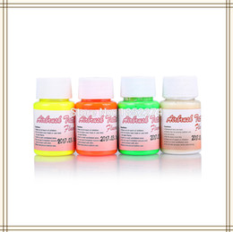 Wholesale Tattoos Airbrush Supplies - Wholesale-4 Bottles Golden Phoenix Airbrush Tattoo Fluorescent Ink For Temporary Body Paint Free Shipping-40ml Bottle Beauty Makeup Supply