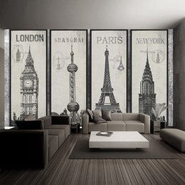 Wholesale Eiffel Tower Backgrounds - Fashion Eiffel Tower Sydney Greek city Building set DIY Wallpaper mural Living Room Background Decor Mural Decal Wallpaper