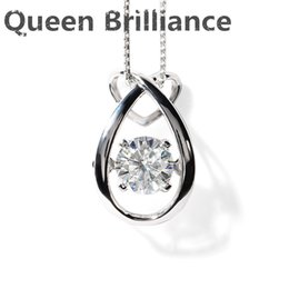 Wholesale Solid Platinum Necklace - 1 ct F Color Lab Grown Moissanite Diamond Pendant Necklace Solid Platinum 950 Pendant fine jewelry for Women Gift Free Shipping 17903