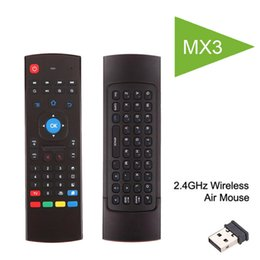Wholesale Dual Axis - Air Fly Mouse MX3 C120 Rii i8 2.4GHz Wireless Keyboard Remote Control Somatosensory IR Learning 6 Axis Without Mic for Android TV Box Smart