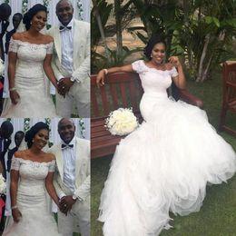 Wholesale trendy lace wedding dresses - 2018 Trendy Mermaid Wedding Dresses Arabic Short Sleeve Applique Plus Size Black Girl Lace Up Back Ruffles Bridal Gown Bride Dress