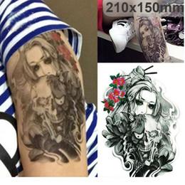 Wholesale Wholesale Tattoos Horror Temporary - Body Arm Tattoo Sticker Halloween Horror Skull Ghost Crying Girl Designs Temporary Tattoo Terrorist Skeleton 21*15cm