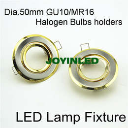 Wholesale Downlight Out - Wholesale- Free shipping 65mm cut out GU10 MR16 LED Fixture trims golden downlight fitting for home
