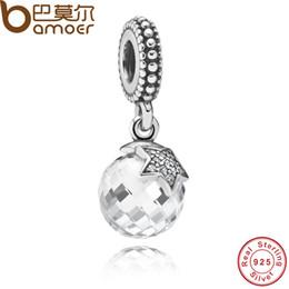 Wholesale Moon Star Pendant Necklace - Pandora Style Authentic 925 Sterling Silver Moon & Star, Clear CZ Charm Pendant Fit Bracelet & Necklace PAS080