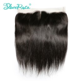 Wholesale Side Parting Brazilian Hair Closure - Slove Rosa Lace Frontal Closure Straight Brazilian Remy Hair 13x4 Ear To Ear Bleached Knots With Baby Hair Pre Plucked Hairline