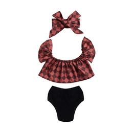 Wholesale European Style Blouses - Hot Mikrdoo Baby Girl Clothes Kids Plaid Tops Toddler Black Shorts Headband 3pcs Suit Doll Ruffled Collar Blouse Newborn Infant Clothing Set