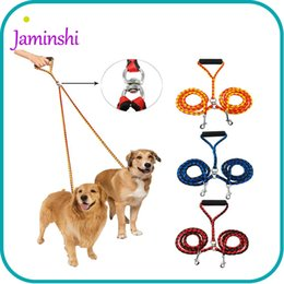 Wholesale Dog Two Collar - Nylon Double Dog Leash Braided Tangle Leash Two Dogs Walking Training Outdoor Activities Durable Traction Rope