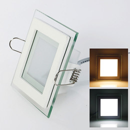Wholesale Super Bright Ceiling Light - Glass LED Panels light 6w 12w 18w LED downlight square SMD 5630 super bright AC85-265V ceiling recessed lamp