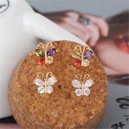 Wholesale Yellow Stone Stud Earrings - Fashion Tiny Butterfly Earrings Jewelry 18K Yellow Gold Plating Zirconia Crystal Stones Stud Earrings for Kids for Girls Women