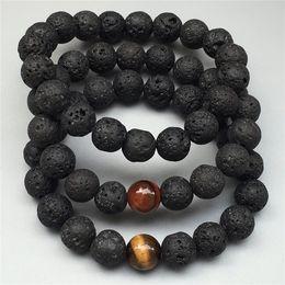 Wholesale Gemstone Tiger Eye - 10mm black lava beads bracelet,tiger eye bracelet,Elastic bracelet ,gemstone bracelet ,bead bracelet,matte or polished stone beads