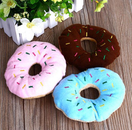Sightly Lovely Pet Dog Puppy Cat Squeaker Quack Sound Toy Chew Donut Play Toys G856