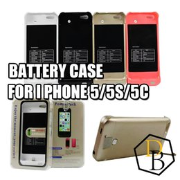 Wholesale Uk Iphone Case - Battery case 2200mAh for Iphone 5 5s 5c Lithium ion polymer battery case led charge display external backup battery charger case rechargable