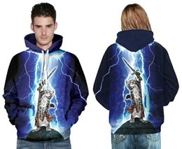 Wholesale Lover Clothes Couples - New 3d digital men hoodies sweatshirts will printing adorable cat swordsman plus size brand casual hooded hooded cloak lovers couple clothes