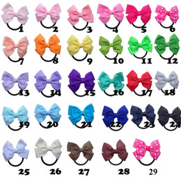 Wholesale Ribbon Hair Bow Holder - 7.5cm 29 colors grosgrain ribbon hair bow with black color elastic headband for pony tail holder for kids headwear 20pcs lot
