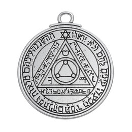 Wholesale Pentacle Charms Wholesale - Wholesale- Pentacle of the Sun Key of Solomon talisman charms pendants jewelry stamps alphabet religious items vintage jewelry