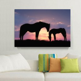 Wholesale Sunset Canvas Paintings - Romantic Sunset Landscape Black Horse Canvas Painting Home Decor Canvas Wall Art Picture Digital Art Print for Living Room