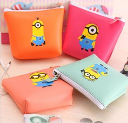 Wholesale Cheap Korean Purses - Despicable Me coin purses Minion wallets Children gift bag Wallet for Girl Boy Cheap Kids Cartoon coin Purse