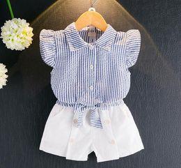 Wholesale Tutu Fashion China - Baby & Kids Clothing 2 Pcs Set 2017 Children Girls Two Piece T-shirt + Short Pant Kids Fashion Girl's Sleeveless China Style Outfits