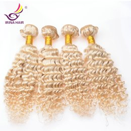Wholesale Cheap Blonde Curly Weave - Good quality virgin brazilian kinky curly hair 3 bundles lot russian blonde curly human hair weave cheap 613 curly hair extensions