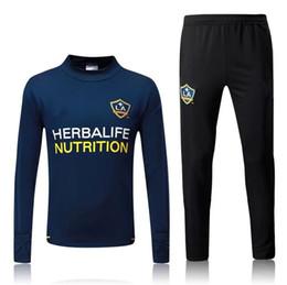 Wholesale Galaxy Suit - Top quality new Galaxy soccer training suit 2017 2018 GERRARD tracksuit KEANE GIOVANI BECKHAM 17 18 training tracksuit Sweatshirt soccer set