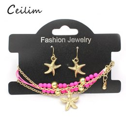 Wholesale Plastic Charms For Kids - 2017 fashion cute kid accessories airplane & starfish charms gold plating chain bracelets earrings jewelry set for daughter new years gifts