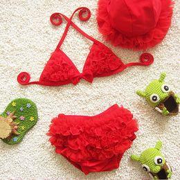 Wholesale Little Girls Pink Swimsuits - kids swimwear girls three pieces child swimsuit with ruffle mermaid tails for children bikini baby girl little girls swim suits