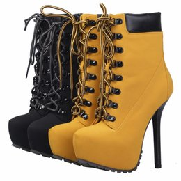 Wholesale Lace Up Platform Heel Punk - Wholesale- High Quality Spring Autumn Fashion Martin Punk Lace UP Super Thin High Heel Platform Yellow Motorcycle Boot T-Stage Women Boots