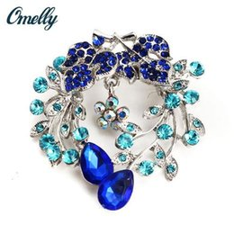 Wholesale Cheap Wholesale Wedding Gifts - Christmas Brooches Fashion Mutilcolor Blue Crystal Sapphire Brooches Pins Flower Wedding Bouquet Brooches Gift Jewelry Wholesale Cheap