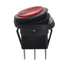 Aus-schalter rot online-ZOOKOTO LED Runde Taste 12V 20A 3-Pin On / Off Wippschalter Wasserdicht Auto Boot SPST 5 Stück blau / rot