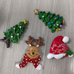 Wholesale Souvenir Fridge Magnets - Fridge magnets Christmas Decoration Resin Promotional Gifts deer tree Magnetic Sticker Fefrigerator Magnet souvenirs for Xmas Kid