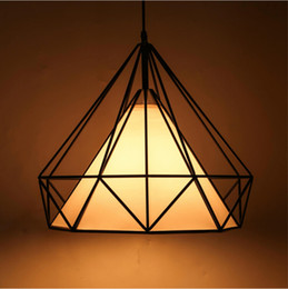 Wholesale cage black metal pendant light - modern black birdcage pendant lights iron minimalist retro light Scandinavian loft pyramid lamp metal cage with led bulb