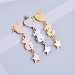Wholesale Bear Stud Earring - Little bear pentagram heart-shaped earrings earrings titanium steel Free shipping