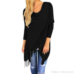 Wholesale Womens Fashion Shirts Cross - Tops Shirt Blouses Womens Casual Long Sleeve V-Neck Loose Blouse Tassel Slash Cotton Casual