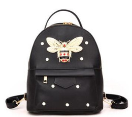 Wholesale Womens School Shoulder Bags - Newest style Fashion design bee Beads embellished womens brand PU handbags Backpack totes Backpack Shoulder Students in school bag