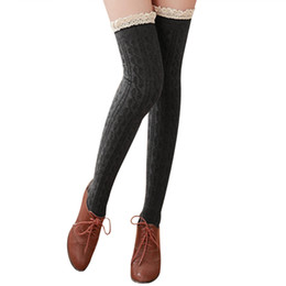 Wholesale Warm Thigh High Stockings - Wholesale- New Fashion Women's Stockings Over The Knee Socks Thigh High Stocking Sexy Lace Socks winter warm Stockings For Girls Ladies