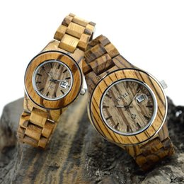 Wholesale Ladies Zebra Watches - Zebra Wood Watches Women Men Bewell Brand Fashion Casual Ladies Quartz Wristwatches Lovers Watch Male Female Clock Gifts