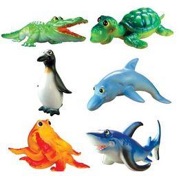 Wholesale Plastic Octopus - 6Pcs Ocean Sea World Animal Crocodile Dolphin Shark Turtle Penguin Octopus